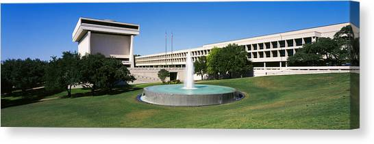 Lyndon Johnson Canvas Print - Fountain In Front Of A Library, Lyndon by Panoramic Images