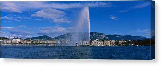 Lake Geneva Canvas Print - Fountain In Front Of Buildings, Jet by Panoramic Images
