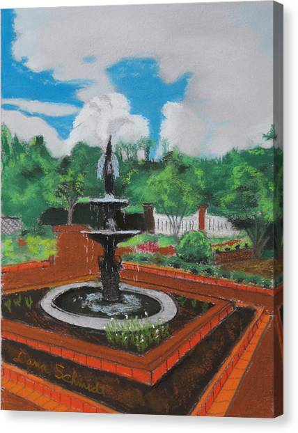 Fountain In Ga Official Botanical Garden At Athens Canvas Print