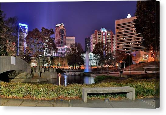 Charlotte Bobcats Canvas Print - Fountain In Marshall Park by Frozen in Time Fine Art Photography
