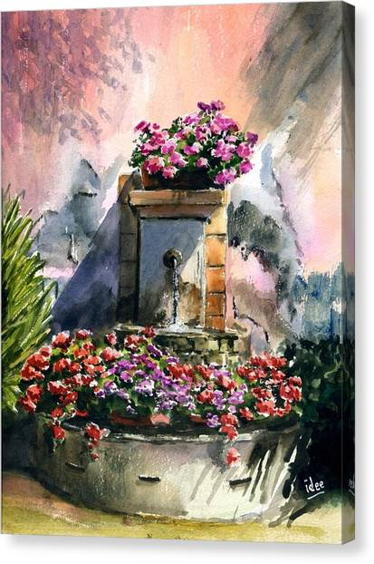 Fountain In Moustier-st-marie Canvas Print by Ivo Depauw