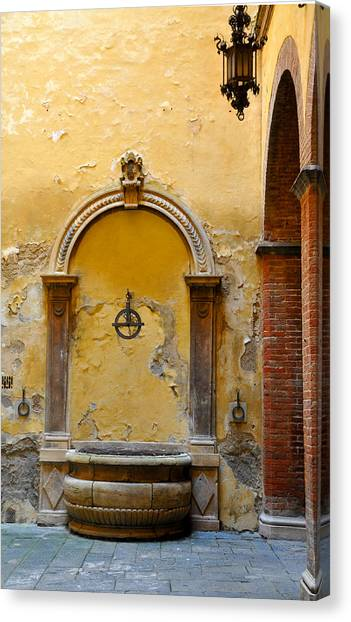 Fountain In Sienna Canvas Print
