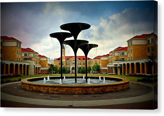 Texas Christian University Canvas Print - Fountain Of Knowledge by Dee Morales