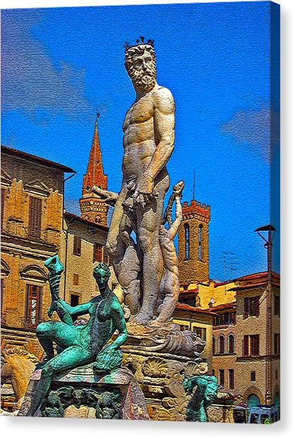 The Uffizi Gallery Canvas Print - Fountain Of Neptune. Florence. by Andy Za
