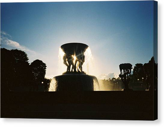 Canvas Print - Fountain Silhouette by Christine Rivers