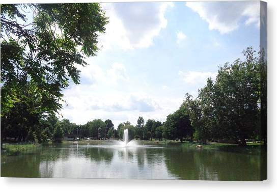 Fountain View Canvas Print by Rose Clark