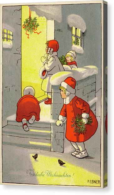 47ae8aacd Mary Christmas Canvas Print - Four Children Arrive For A Christmas by Mary  Evans Picture Library