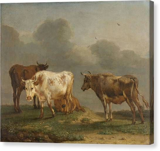 Four Cows In A Meadow Canvas Print