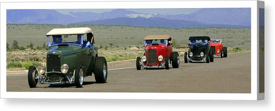 1932 Ford Canvas Print - Four Cruzing  Duce Rods by Jack Pumphrey