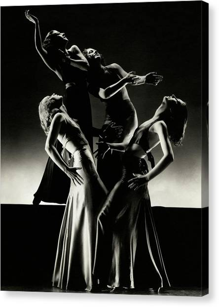 Four Dancers Of The Albertina Rasch Ballet Group Canvas Print