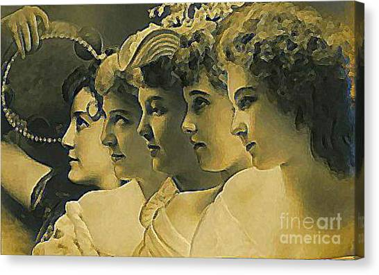 Four Edwardian Actresses In 1910 Canvas Print by Dwight Goss