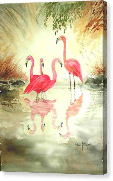 Four Flamingos Canvas Print