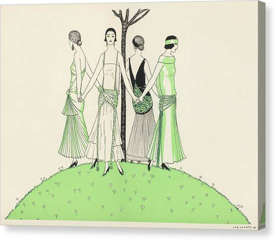 Influence Canvas Print - Four Ladies Holding Hands, Wearing by Mary Evans Picture Library
