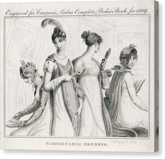 Influence Canvas Print - Four Ladies In A Gallery Wear by Mary Evans Picture Library