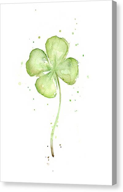 Clover Canvas Print - Four Leaf Clover Lucky Charm by Olga Shvartsur