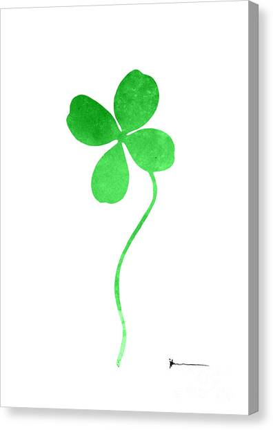 Clover Canvas Print - Four Leaf Clover Watercolor Art Print Painting Silhouette by Joanna Szmerdt