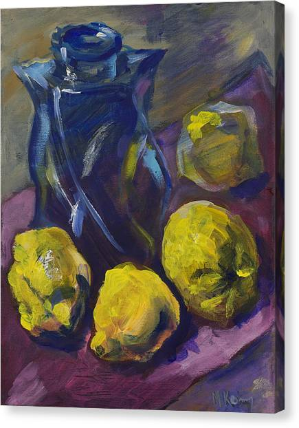 Four Lemons And A Blue Vase Canvas Print