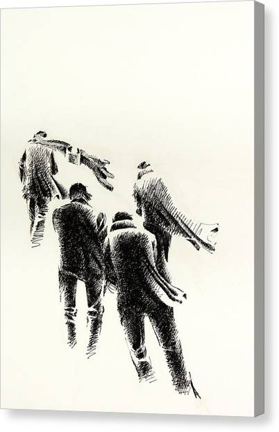 Arabian Desert Canvas Print - Four Men In Less Wind by Mamoun Sakkal
