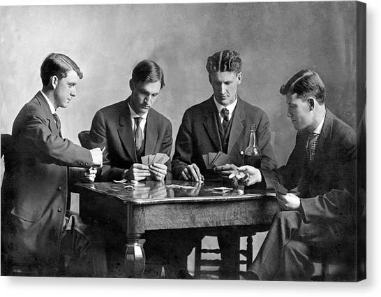 1880s Canvas Print - Four Men Playing Cards by Underwood Archives
