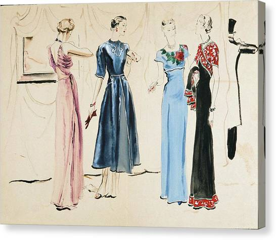 Indoors Canvas Print - Four Models In Dresses By Alix by Rene Bouet-Willaumez