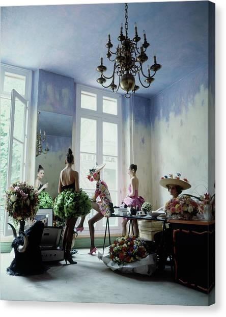 Four Models Inside Christian Lacroix's Studio Canvas Print by Arthur Elgort