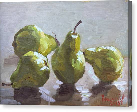 Pears Canvas Print - Four Pears by Ylli Haruni