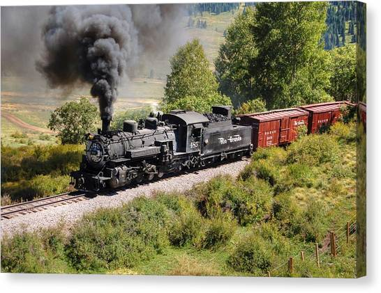 Steam Trains Canvas Print - Four Percent Grade Part 1 by Ken Smith