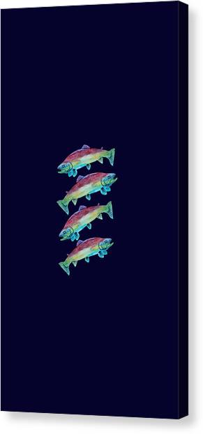 Jenny Lake Canvas Print - Four Rainbow Trout by Jenny Armitage