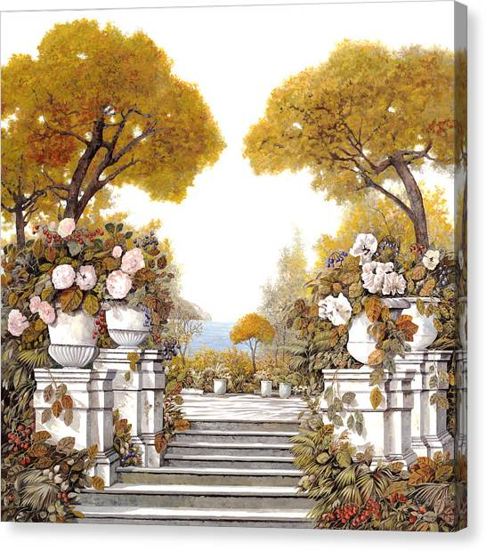 Four Canvas Print - four seasons-autumn on lake Maggiore by Guido Borelli