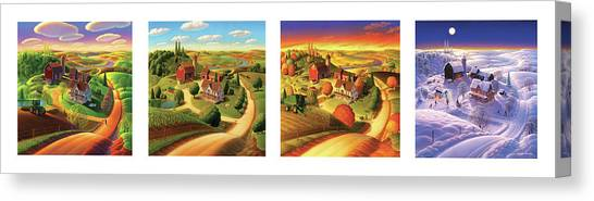 John Deere Canvas Print - Four Seasons On The Farm by Robin Moline