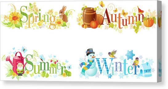 Four Seasons Spring, Summer, Autumn Canvas Print by O-che
