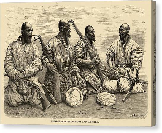 Influence Canvas Print - Four Uighur Men From The  Far West by Mary Evans Picture Library