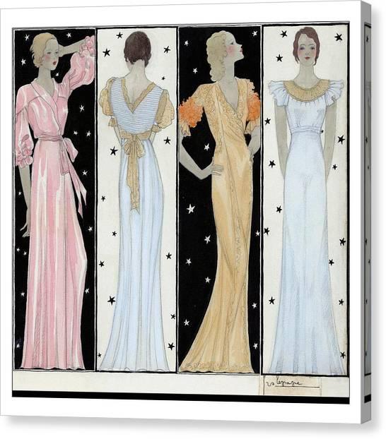 Four Women In Designer Evening Gowns Canvas Print