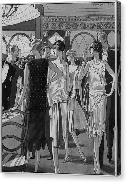 Four Women In Evening Wear Canvas Print by Pierre Mourgue