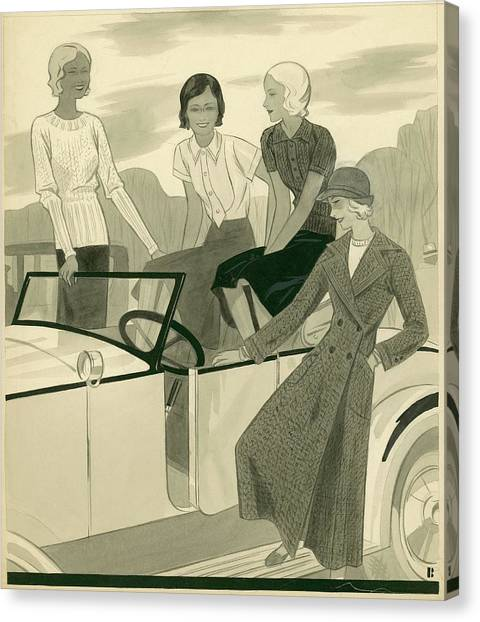 Four Women With A Car Canvas Print by William Bolin