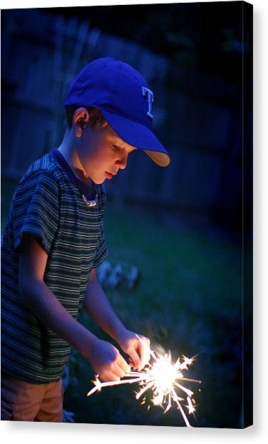 Canvas Print featuring the photograph Fourth With A Sparkler by Kelly Hazel