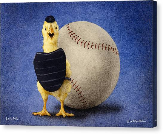 Chicken Canvas Print - Fowl Ball... by Will Bullas