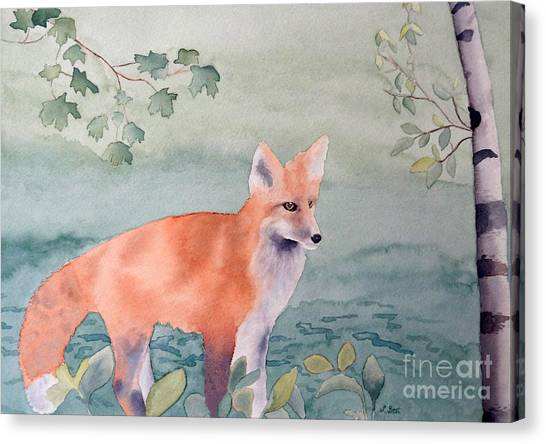 Fox And Birch Canvas Print