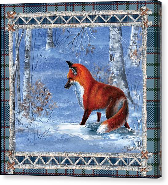 Fox In The Birch Woods Canvas Print