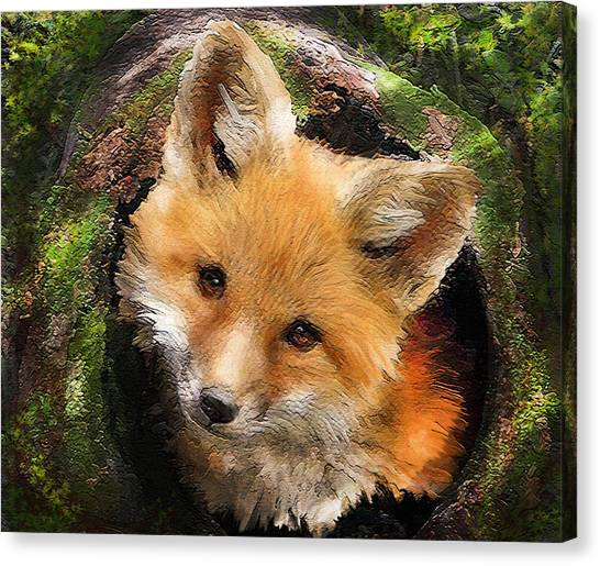 Mossy Forest Canvas Print - Fox Kit In Log by Jane Schnetlage