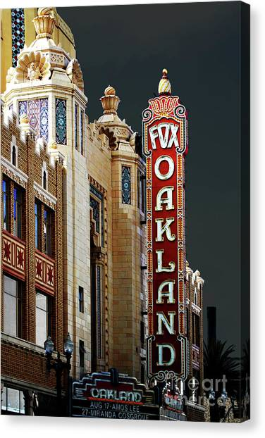 Canvas Print featuring the photograph Fox Theater . Oakland California by Wingsdomain Art and Photography