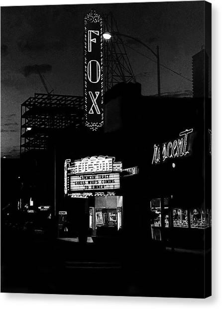Burt Reynolds Canvas Print - Fox Tucson Theater Dusk 1967 Spencer Tracy by David Lee Guss
