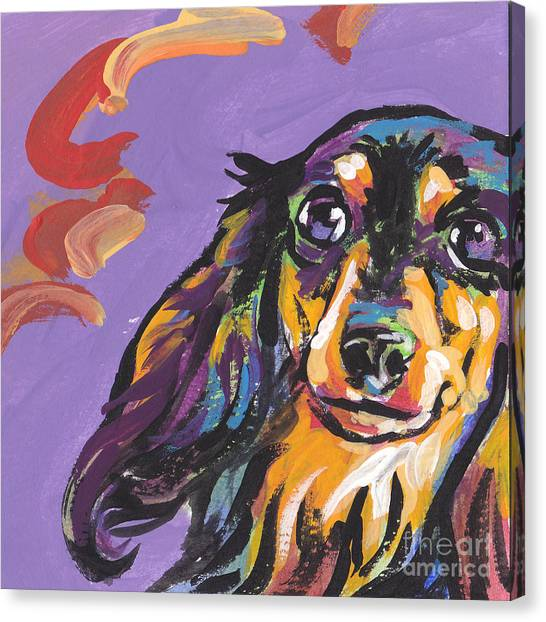 Dachshund Canvas Print - Foxie Doxie by Lea S
