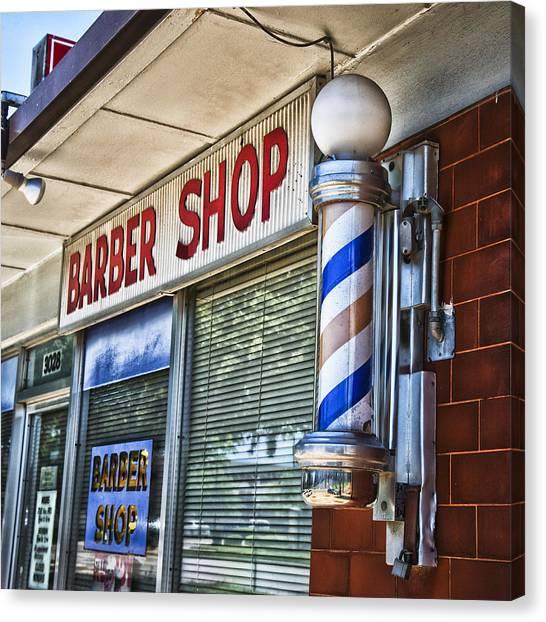 Texas Christian University Canvas Print - Fox's Barber Shop by David Waldo