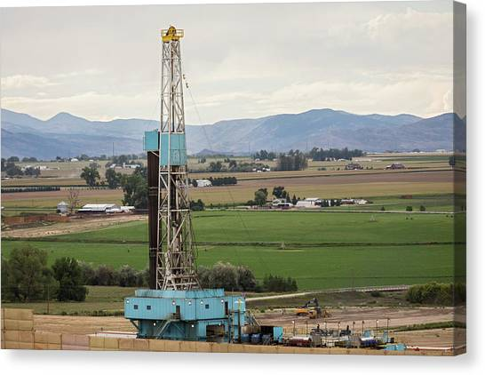 Fracking Canvas Print - Fracking Site by Jim West/science Photo Library