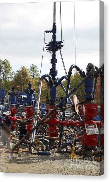 Fracking Canvas Print - Fracking Well Heads by Bill Cunningham/us Geological Survey