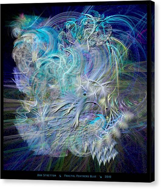 Fractal Feathers Blue Canvas Print