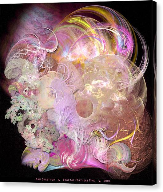 Fractal Feathers Pink Canvas Print