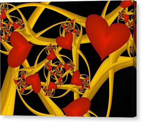 Fractal Love Ist Gold Canvas Print