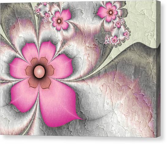 Fractal Nostalgic Flowers 2 Canvas Print